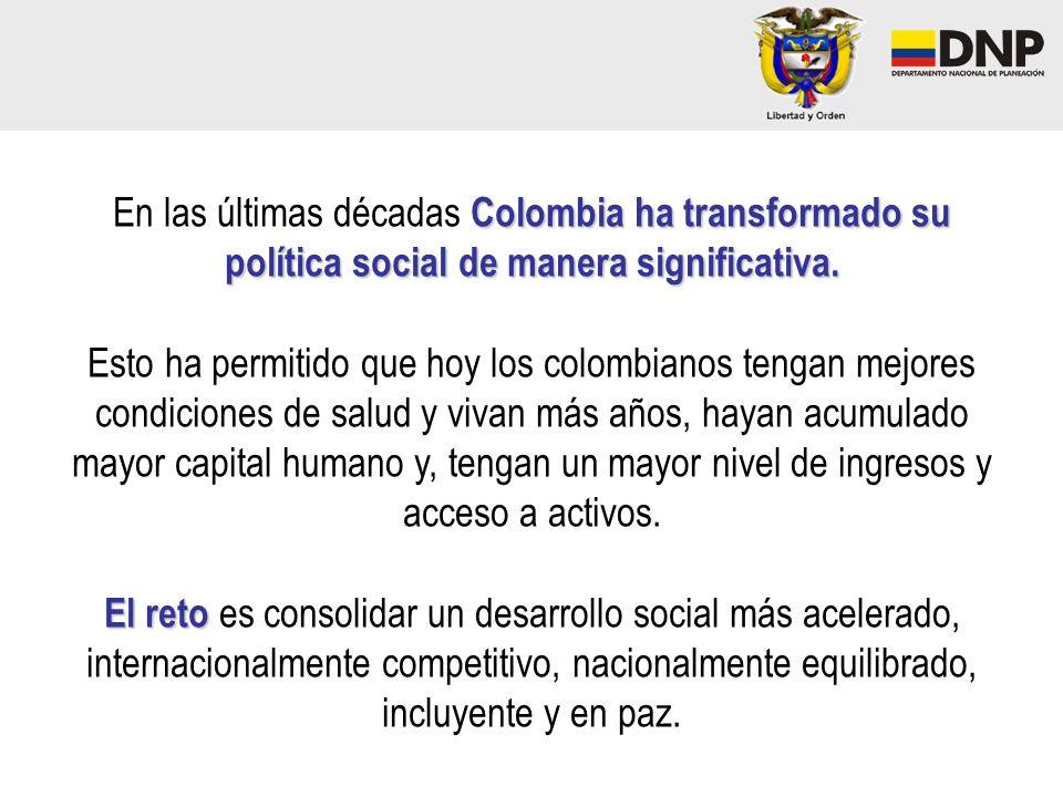Hacia una sociedad equitativa e incluyente La estabilidad institucional, la confianza inversionista y el crecimiento económico han contribuido significativamente a mejorar las condiciones de vida de todos los colombianos Disminución de la pobreza y mayor acceso a los programas sociales son la base para lograr retos más ambiciosos.