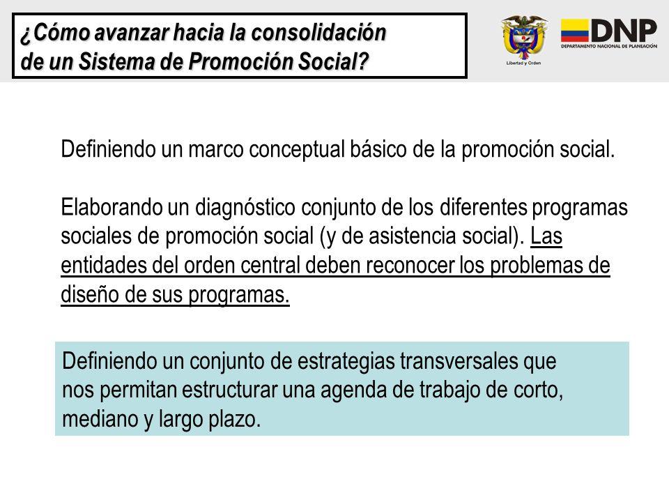 ¿Cómo avanzar hacia la consolidación de un Sistema de Promoción Social? Definiendo un marco conceptual básico de la promoción social. Elaborando un di