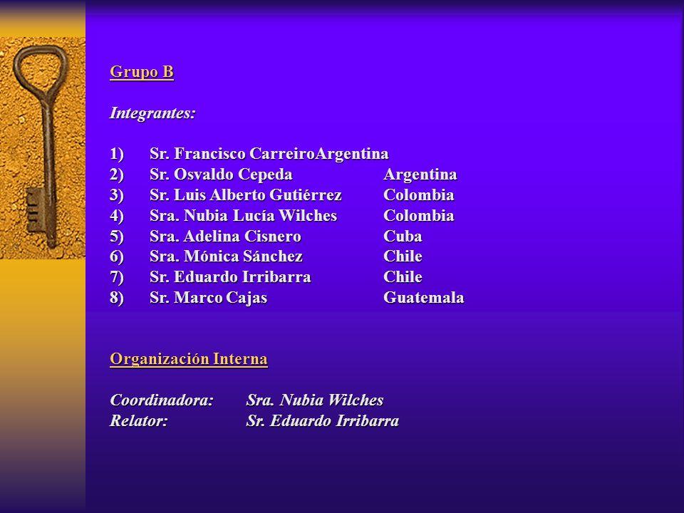 Grupo B Integrantes: 1) Sr. Francisco CarreiroArgentina 2) Sr. Osvaldo CepedaArgentina 3) Sr. Luis Alberto GutiérrezColombia 4) Sra. Nubia Lucía Wilch