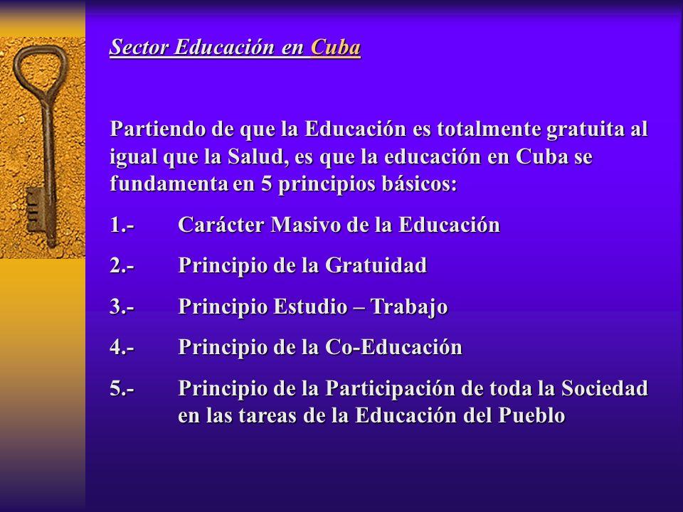 Sector Educación en Cuba Partiendo de que la Educación es totalmente gratuita al igual que la Salud, es que la educación en Cuba se fundamenta en 5 principios básicos: 1.-Carácter Masivo de la Educación 2.-Principio de la Gratuidad 3.-Principio Estudio – Trabajo 4.-Principio de la Co-Educación 5.-Principio de la Participación de toda la Sociedad en las tareas de la Educación del Pueblo