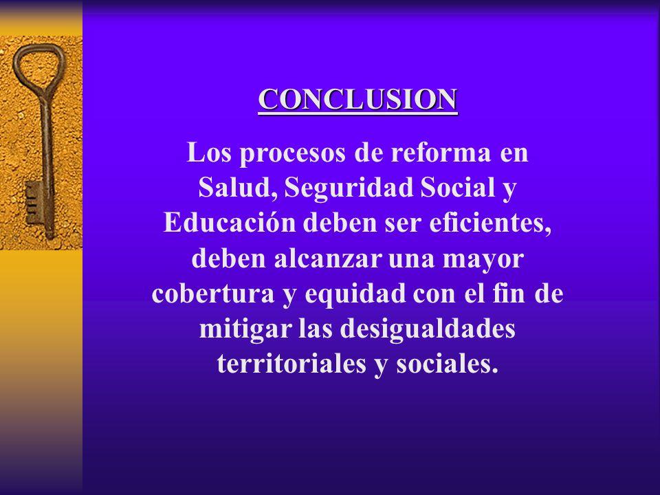 CONCLUSION Los procesos de reforma en Salud, Seguridad Social y Educación deben ser eficientes, deben alcanzar una mayor cobertura y equidad con el fin de mitigar las desigualdades territoriales y sociales.