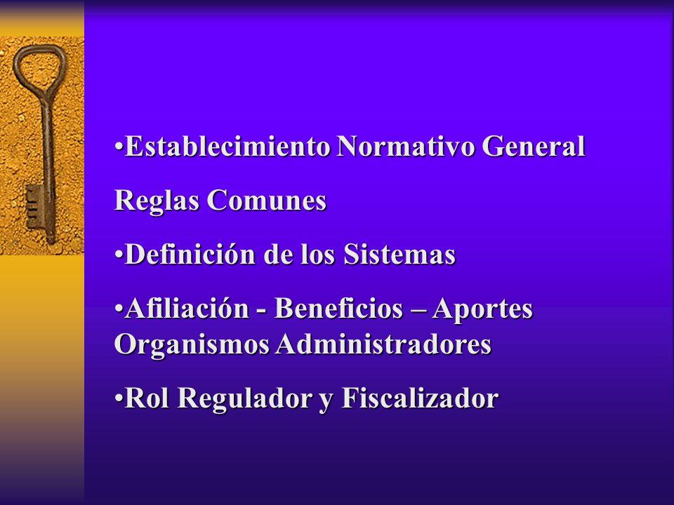Establecimiento Normativo GeneralEstablecimiento Normativo General Reglas Comunes Definición de los SistemasDefinición de los Sistemas Afiliación - Be