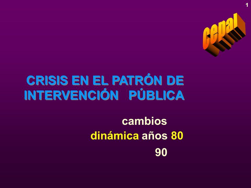 1 CRISIS EN EL PATRÓN DE INTERVENCIÓN PÚBLICA dinámica años 80 90 cambios