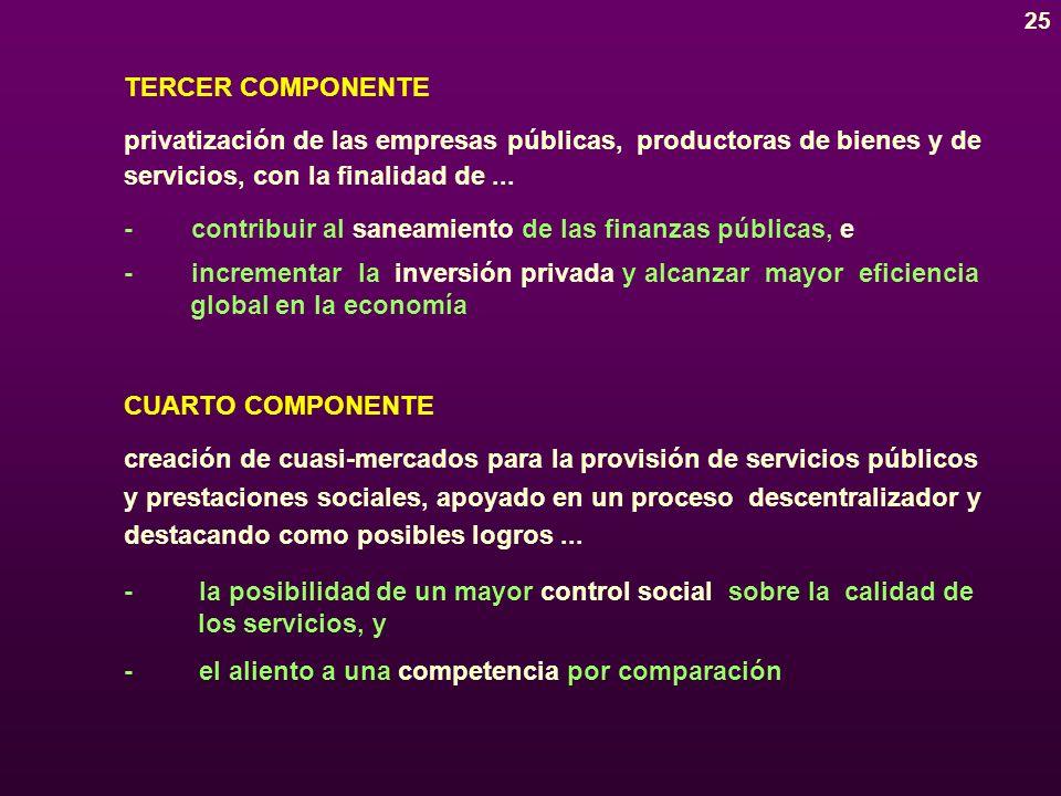 24 PRIMER COMPONENTE apertura de la economía hacia el comercio internacional de bienes y servicios, con un doble propósito...