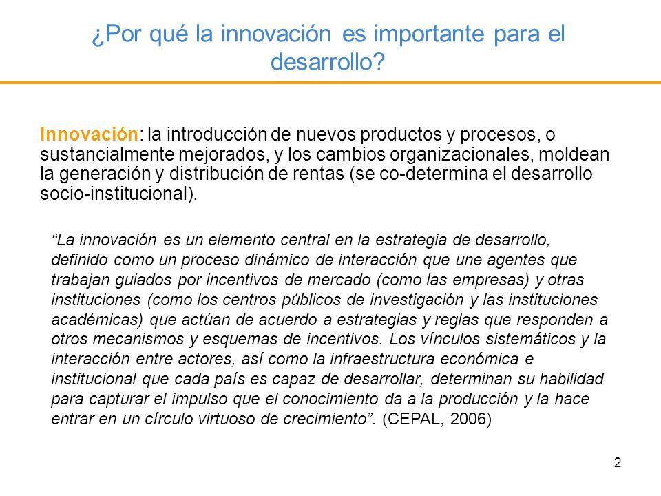 2 ¿Por qué la innovación es importante para el desarrollo? Innovación: la introducción de nuevos productos y procesos, o sustancialmente mejorados, y