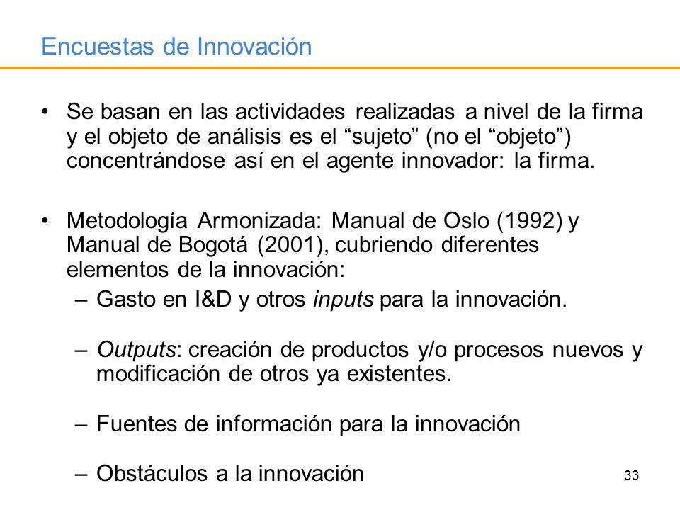 33 Encuestas de Innovación Se basan en las actividades realizadas a nivel de la firma y el objeto de análisis es el sujeto (no el objeto) concentrándo