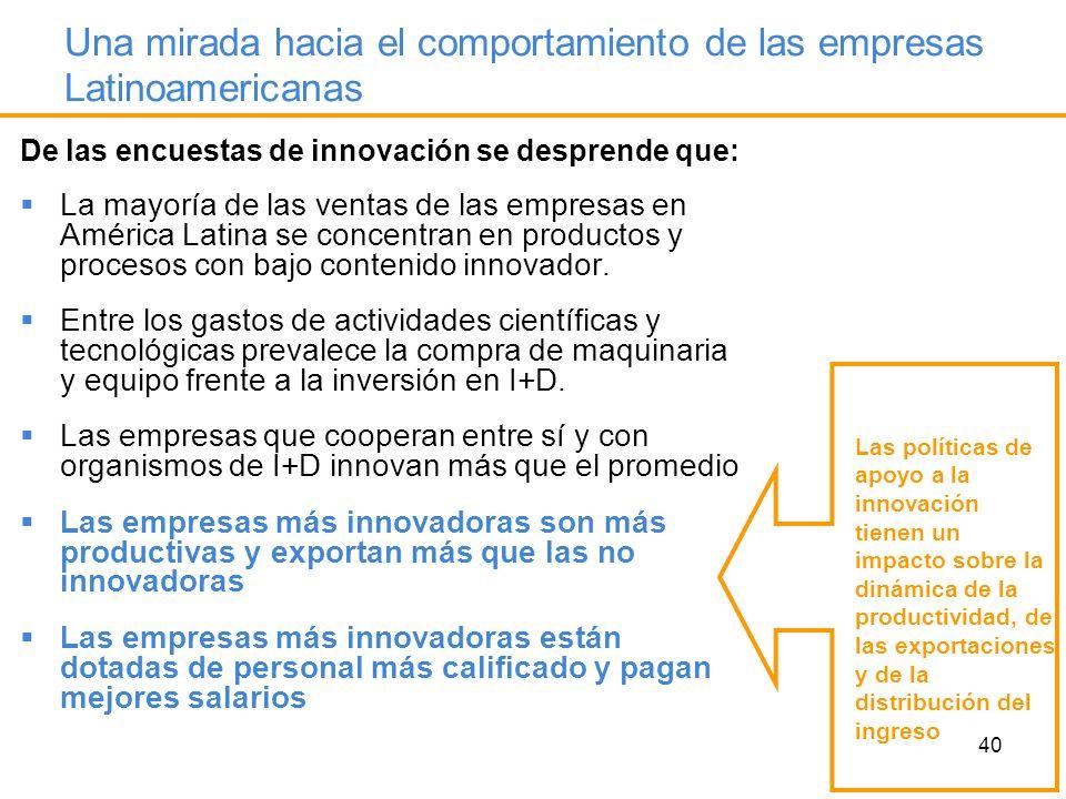 40 Una mirada hacia el comportamiento de las empresas Latinoamericanas De las encuestas de innovación se desprende que: La mayoría de las ventas de la
