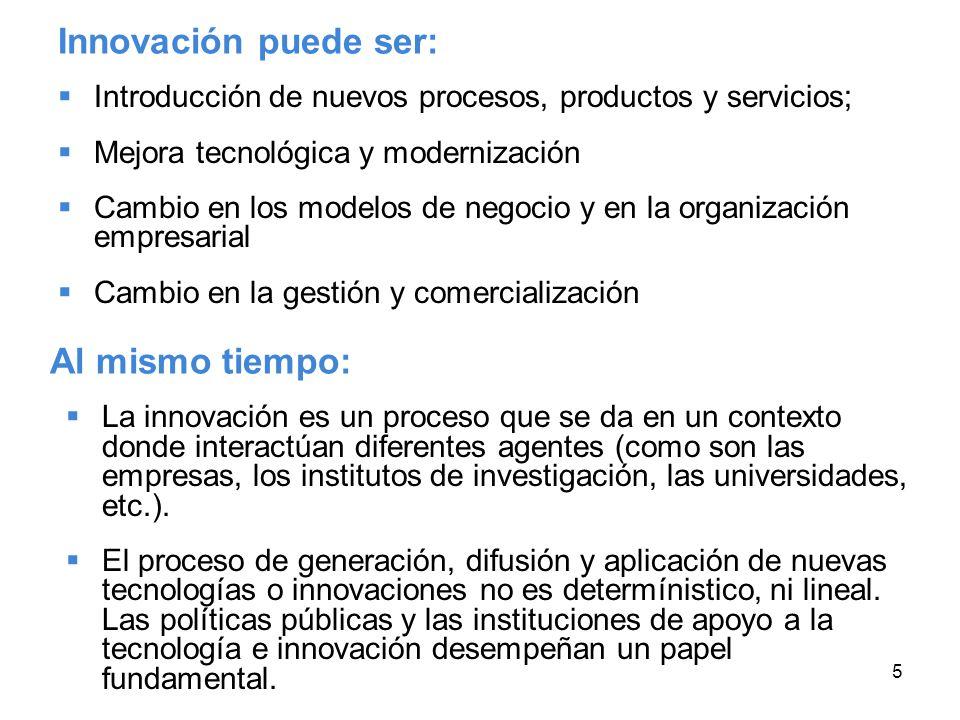 5 Innovación puede ser: Introducción de nuevos procesos, productos y servicios; Mejora tecnológica y modernización Cambio en los modelos de negocio y