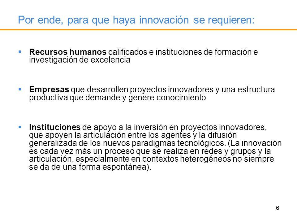 6 Recursos humanos calificados e instituciones de formación e investigación de excelencia Empresas que desarrollen proyectos innovadores y una estruct