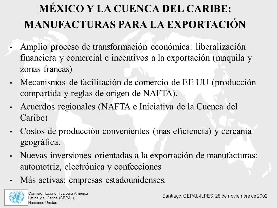 Comisión Económica para América Latina y el Caribe (CEPAL), Naciones Unidas Santiago, CEPAL-ILPES, 28 de noviembre de 2002 MÉXICO Y LA CUENCA DEL CARIBE: MANUFACTURAS PARA LA EXPORTACIÓN Amplio proceso de transformación económica: liberalización financiera y comercial e incentivos a la exportación (maquila y zonas francas) Mecanismos de facilitación de comercio de EE UU (producción compartida y reglas de origen de NAFTA).
