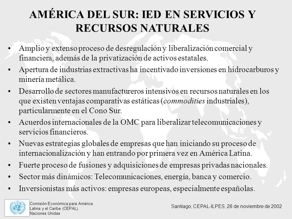 Comisión Económica para América Latina y el Caribe (CEPAL), Naciones Unidas Santiago, CEPAL-ILPES, 28 de noviembre de 2002 AMÉRICA DEL SUR: IED EN SERVICIOS Y RECURSOS NATURALES Amplio y extenso proceso de desregulación y liberalización comercial y financiera, además de la privatización de activos estatales.