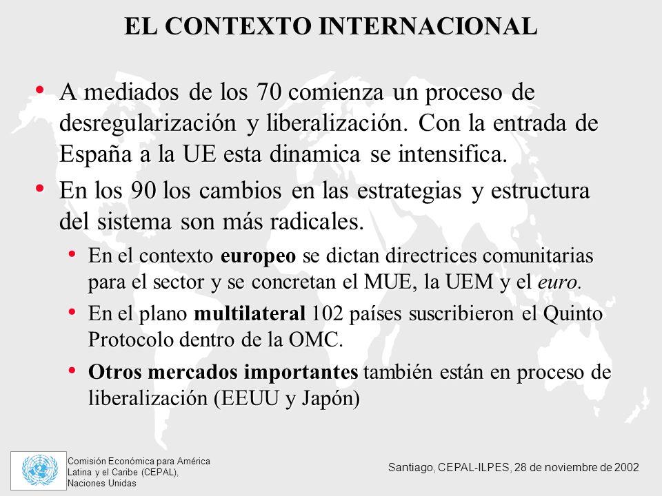 Comisión Económica para América Latina y el Caribe (CEPAL), Naciones Unidas Santiago, CEPAL-ILPES, 28 de noviembre de 2002 EL CONTEXTO INTERNACIONAL A mediados de los 70 comienza un proceso de desregularización y liberalización.