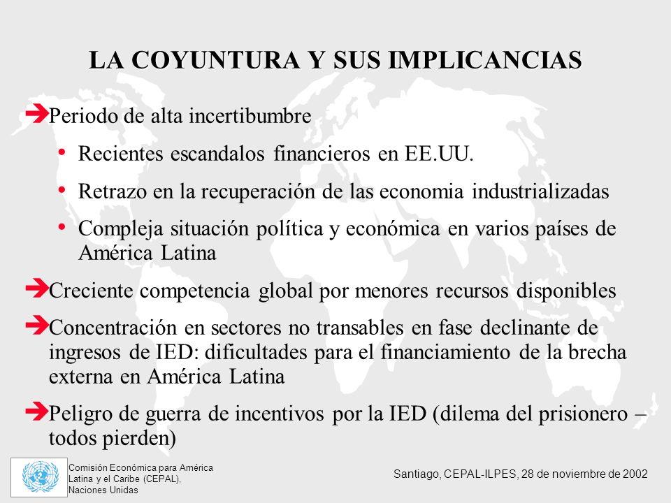 Comisión Económica para América Latina y el Caribe (CEPAL), Naciones Unidas Santiago, CEPAL-ILPES, 28 de noviembre de 2002 LA COYUNTURA Y SUS IMPLICANCIAS Periodo de alta incertibumbre Recientes escandalos financieros en EE.UU.