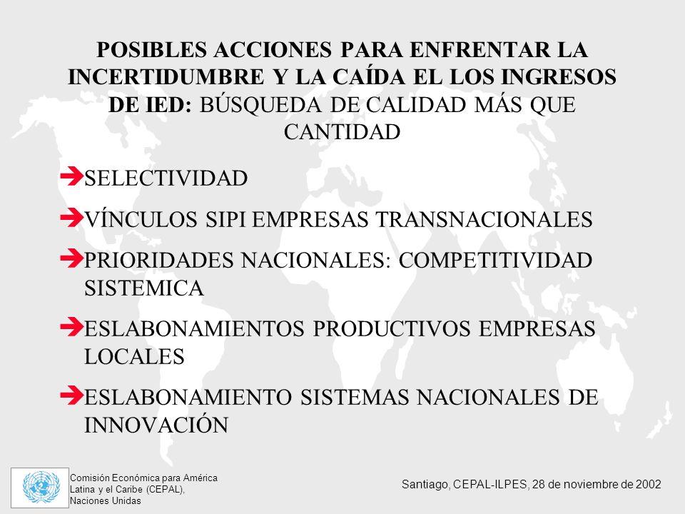 Comisión Económica para América Latina y el Caribe (CEPAL), Naciones Unidas Santiago, CEPAL-ILPES, 28 de noviembre de 2002 POSIBLES ACCIONES PARA ENFRENTAR LA INCERTIDUMBRE Y LA CAÍDA EL LOS INGRESOS DE IED: BÚSQUEDA DE CALIDAD MÁS QUE CANTIDAD SELECTIVIDAD VÍNCULOS SIPI EMPRESAS TRANSNACIONALES PRIORIDADES NACIONALES: COMPETITIVIDAD SISTEMICA ESLABONAMIENTOS PRODUCTIVOS EMPRESAS LOCALES ESLABONAMIENTO SISTEMAS NACIONALES DE INNOVACIÓN
