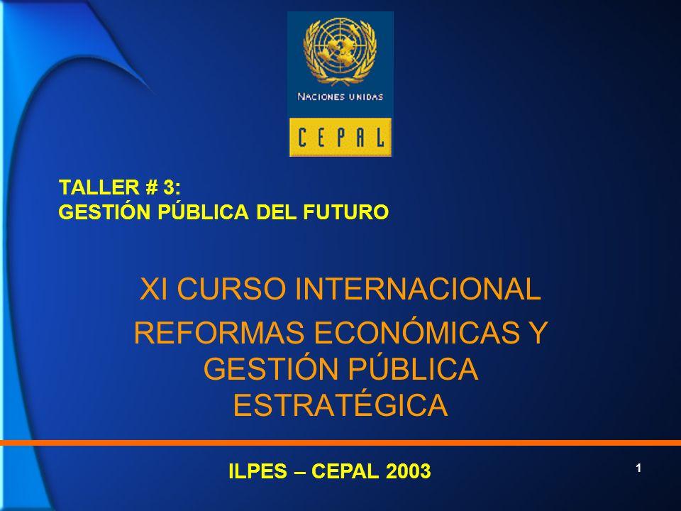 1 TALLER # 3: GESTIÓN PÚBLICA DEL FUTURO XI CURSO INTERNACIONAL REFORMAS ECONÓMICAS Y GESTIÓN PÚBLICA ESTRATÉGICA ILPES – CEPAL 2003