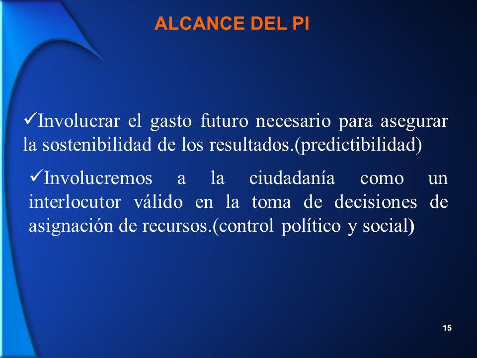 15 Involucrar el gasto futuro necesario para asegurar la sostenibilidad de los resultados.(predictibilidad) Involucremos a la ciudadanía como un interlocutor válido en la toma de decisiones de asignación de recursos.(control político y social) ALCANCE DEL PI