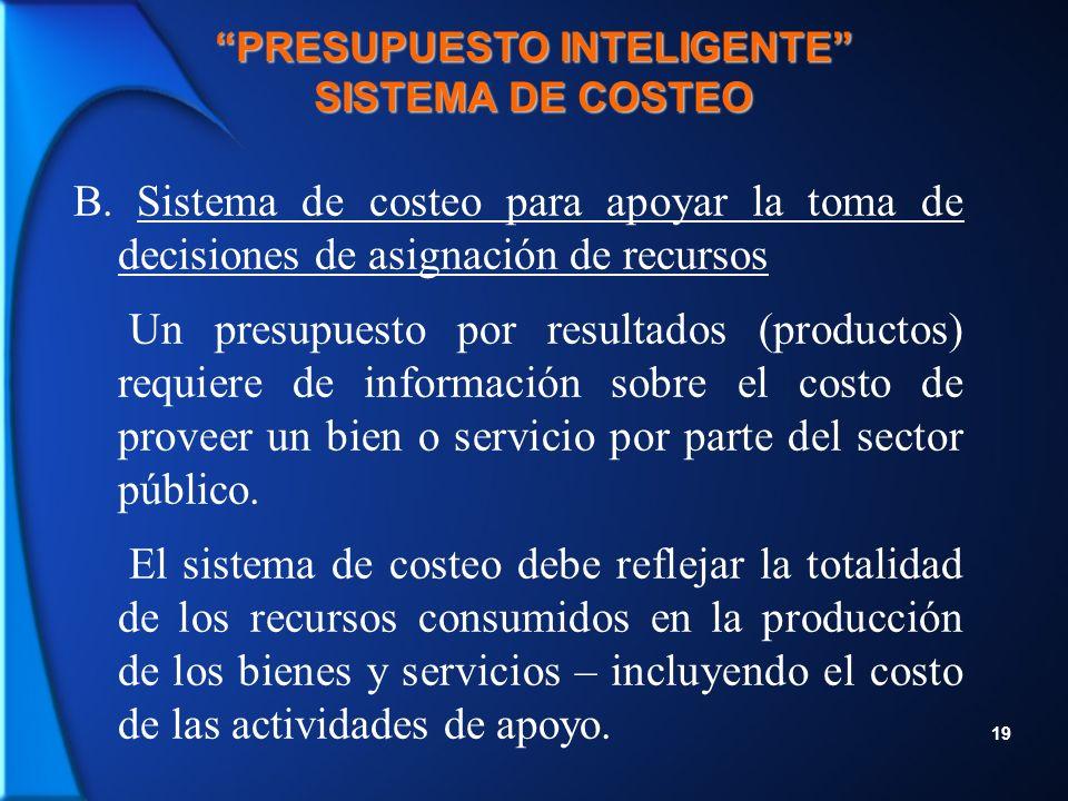 19 PRESUPUESTO INTELIGENTE SISTEMA DE COSTEO B.