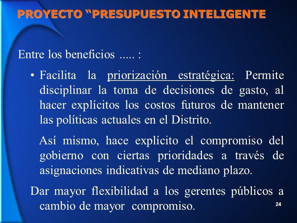 24 PROYECTO PRESUPUESTO INTELIGENTE Entre los beneficios.....
