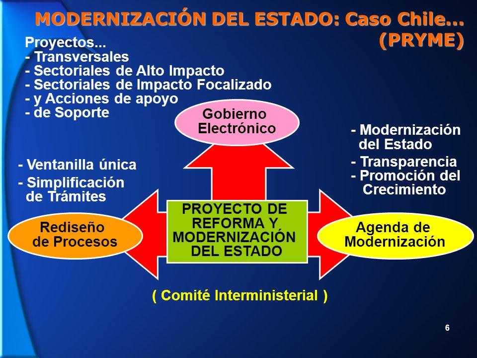 7 - Intranet del Estado - Sistema de Información y Compras del Sector Público - Sistema de Información para la Gestión Financiera del Estado - Ventanilla Única de la Empresa - Ventanilla Única del Ciudadano Consumidor - Sistema Nacional de Información Territorial - Programa de Formación en Tecnologías de Información - Programa Nacional de Infocentros - Factura Electrónica - Nuevo Sistema de Indentificación (Cédula y Pasaporte) - Sistema de Evaluación de Impacto Ambiental Electrónico - Uso de Timbre Digital en la emisión de certificados por Internet (Serv.