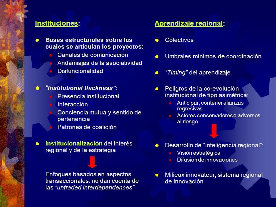 Instituciones: Bases estructurales sobre las cuales se articulan los proyectos: Canales de comunicación Andamiajes de la asociatividad Disfuncionalida