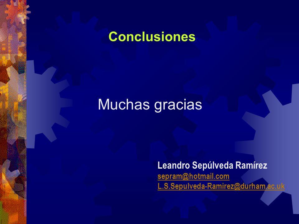 Conclusiones Muchas gracias Leandro Sepúlveda Ramírez sepram@hotmail.com L.S.Sepulveda-Ramirez@durham.ac.uk