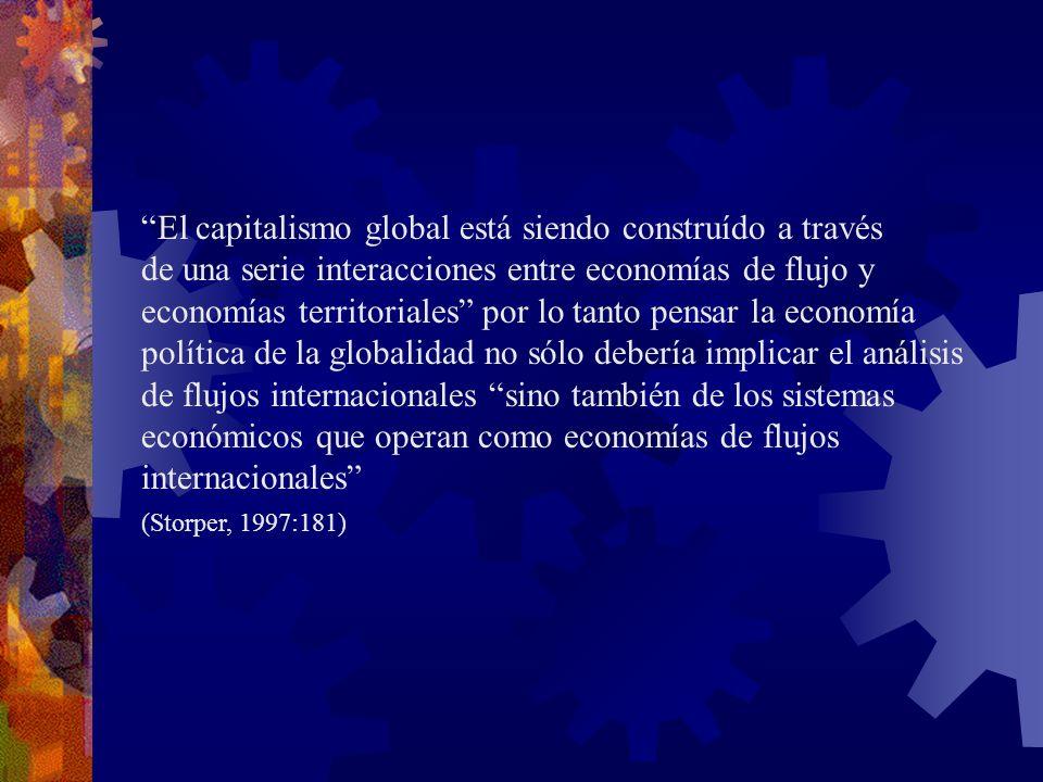 El capitalismo global está siendo construído a través de una serie interacciones entre economías de flujo y economías territoriales por lo tanto pensa