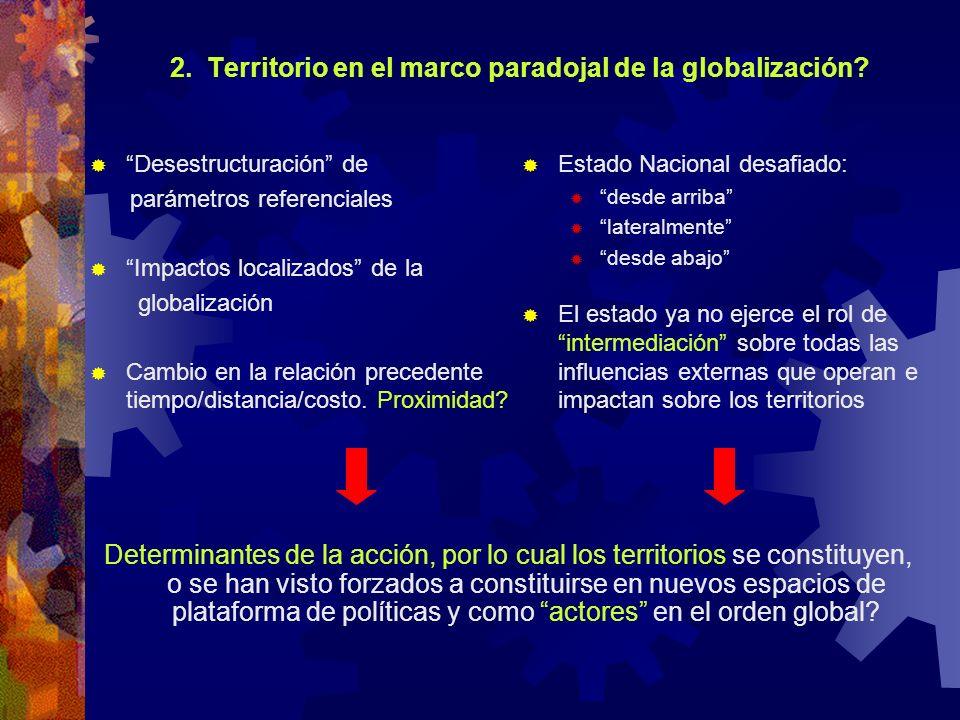 2. Territorio en el marco paradojal de la globalización? Desestructuración de parámetros referenciales Impactos localizados de la globalización Cambio
