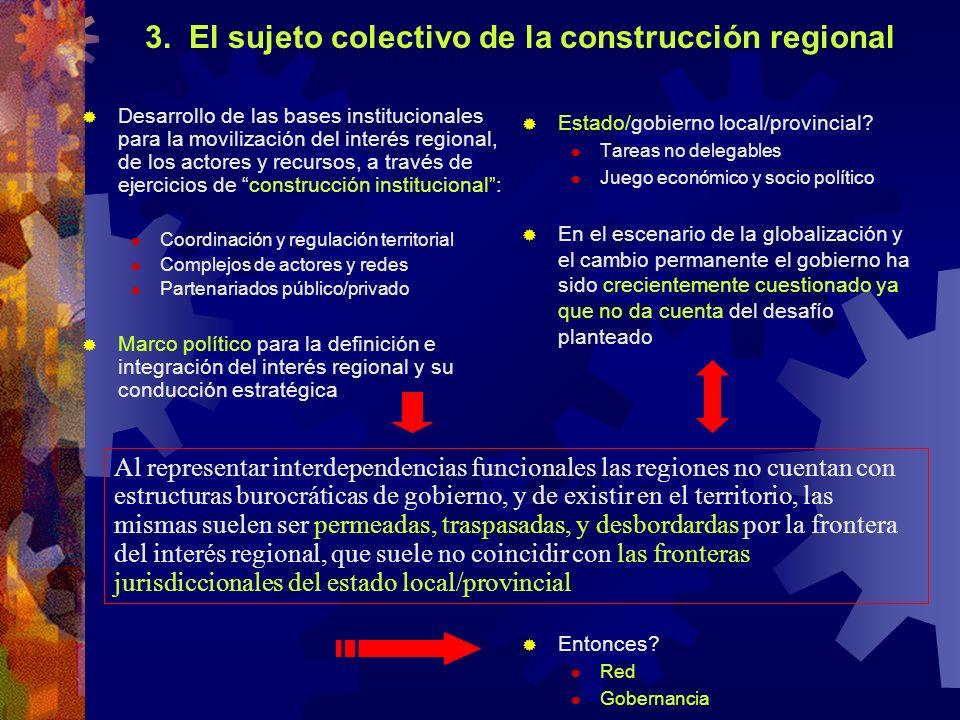 3. El sujeto colectivo de la construcción regional Desarrollo de las bases institucionales para la movilización del interés regional, de los actores y