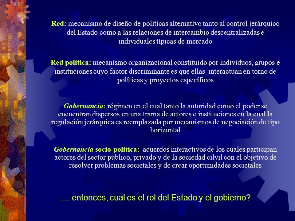 … entonces, cual es el rol del Estado y el gobierno? Red: mecanismo de diseño de políticas alternativo tanto al control jerárquico del Estado como a l