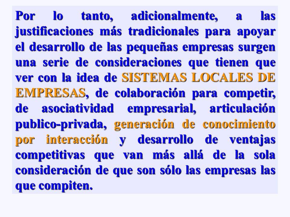 Constituidos básicamente por pequeñas empresasConstituidos básicamente por pequeñas empresas Noción de territorio como base cultural de sistemas de em