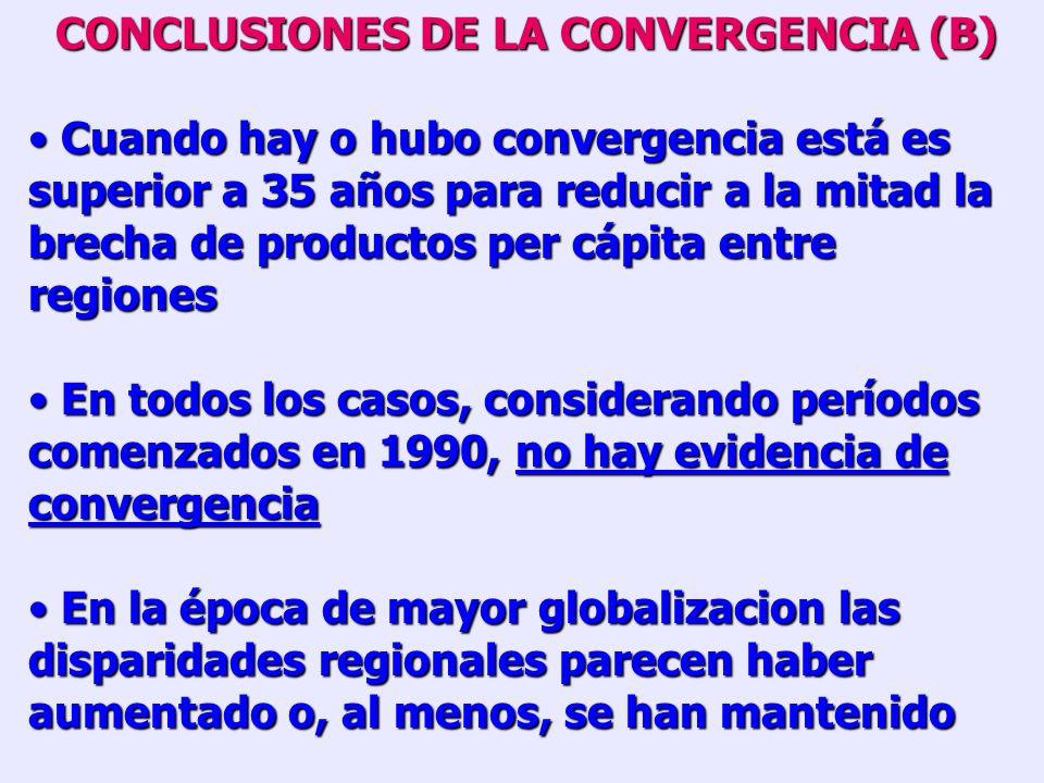 PERIODO RESULTADOS DE LA REGRESION NO LINEALTIEMPO PARA REDUCIR BRECHA A LA MITAD COEF. 1 ERR. EST. ( 1) SIGNIF. COEF. R² PERU 1970 – 1980 1980 – 1990