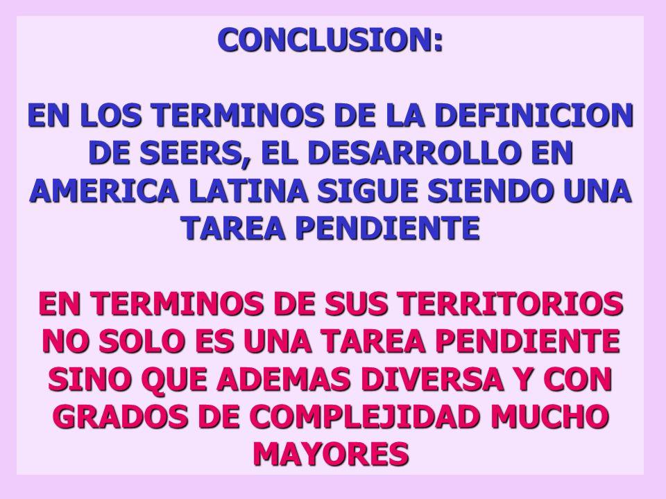 1. TERRITORIOS POTENCIALMENTE GANADORES CON RECURSOS NATURALES EXPORTABLES 2. TERRITORIOS POTENCIALMENTE GANADORES QUE ALBERGAN AREAS METROPOLITANAS 3