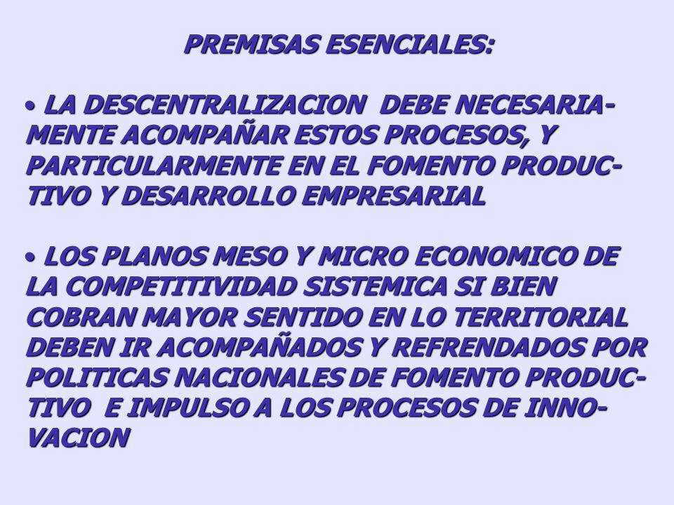 PREMISAS ESENCIALES: NO TODOS LOS TERRITORIOS ESTAN IGUAL- MENTE PREPARADOS PARA ENFRENTAR LOS PROCESOS DE APERTURA Y GLOBALIZACION NO TODOS LOS TERRI
