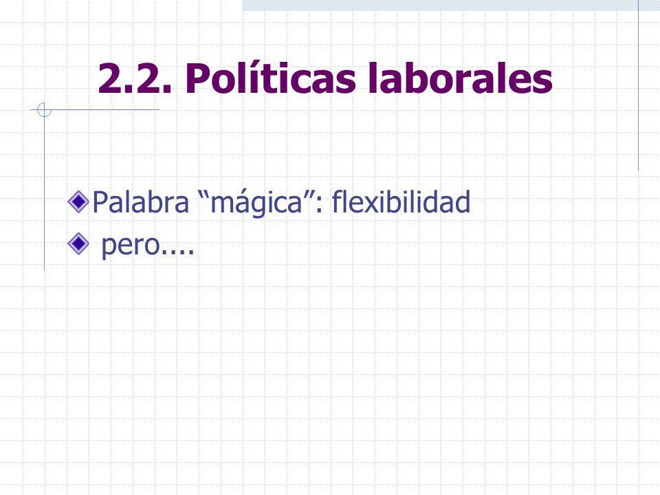 2.2. Políticas laborales Palabra mágica: flexibilidad pero....