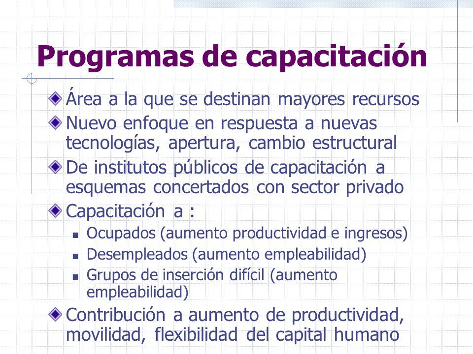 Programas de capacitación Área a la que se destinan mayores recursos Nuevo enfoque en respuesta a nuevas tecnologías, apertura, cambio estructural De