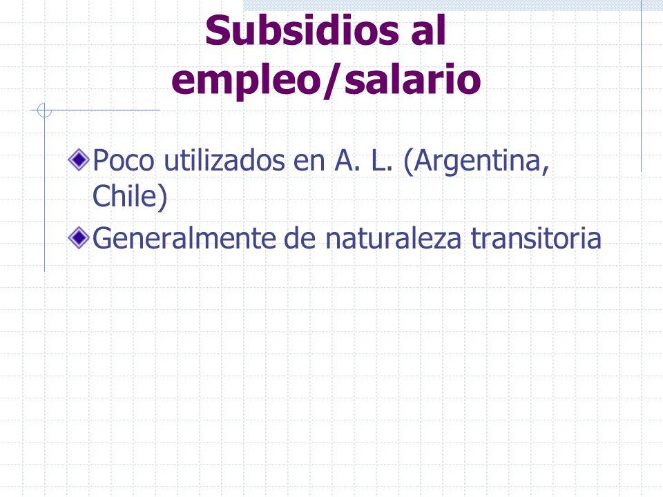 Subsidios al empleo/salario Poco utilizados en A. L. (Argentina, Chile) Generalmente de naturaleza transitoria