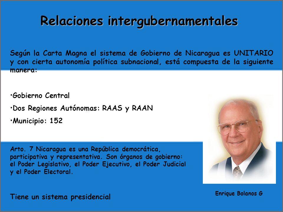Relaciones intergubernamentales Según la Carta Magna el sistema de Gobierno de Nicaragua es UNITARIO y con cierta autonomía política subnacional, está