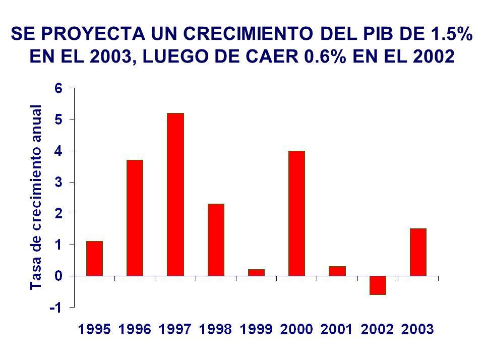 SE PROYECTA UN CRECIMIENTO DEL PIB DE 1.5% EN EL 2003, LUEGO DE CAER 0.6% EN EL 2002