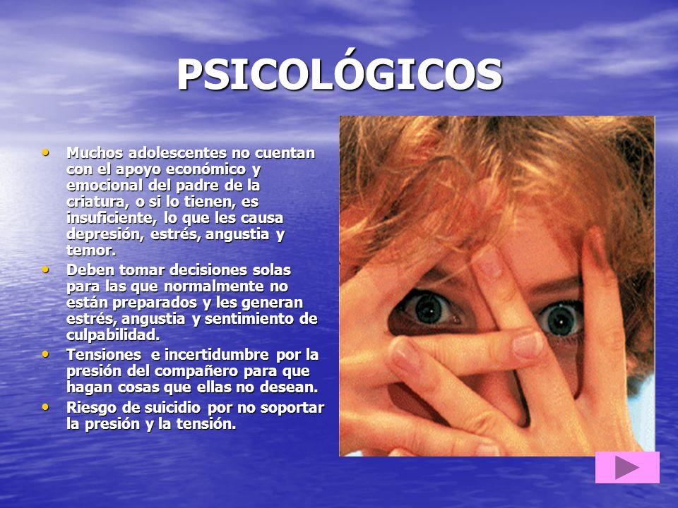 PSICOLÓGICOS Muchos adolescentes no cuentan con el apoyo económico y emocional del padre de la criatura, o si lo tienen, es insuficiente, lo que les c