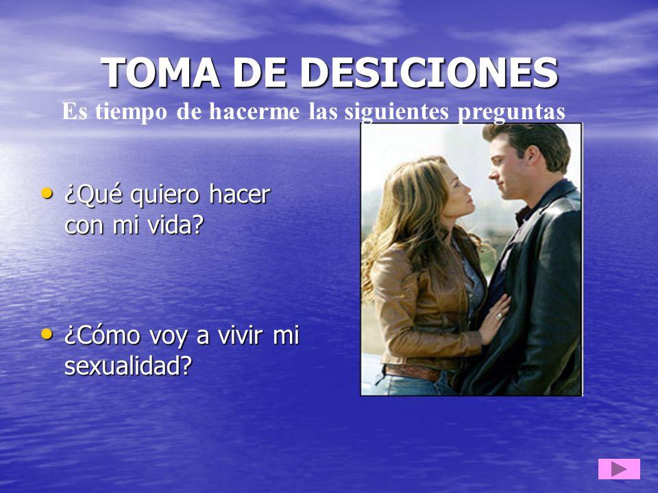 TOMA DE DESICIONES ¿Qué quiero hacer con mi vida? ¿Qué quiero hacer con mi vida? ¿Cómo voy a vivir mi sexualidad? ¿Cómo voy a vivir mi sexualidad? Es