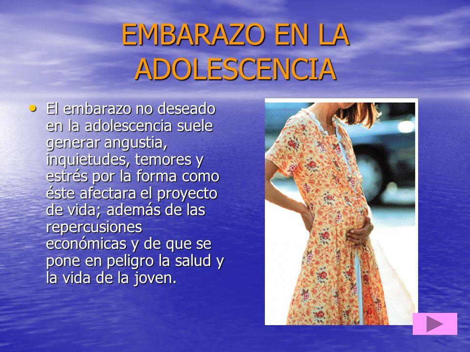 EMBARAZO EN LA ADOLESCENCIA El embarazo no deseado en la adolescencia suele generar angustia, inquietudes, temores y estrés por la forma como éste afe