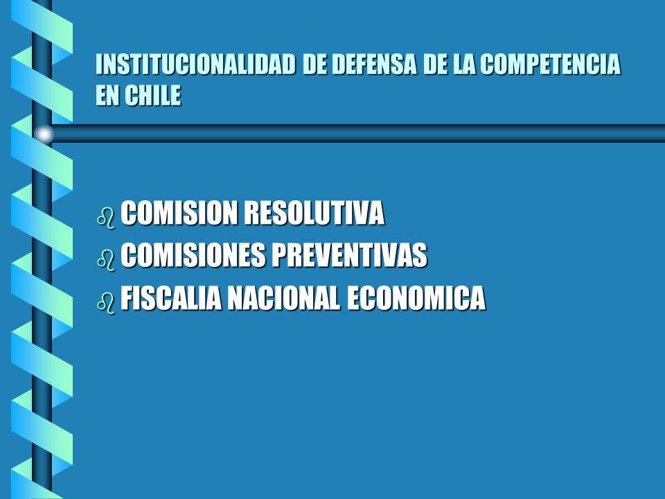 INSTITUCIONALIDAD DE DEFENSA DE LA COMPETENCIA EN CHILE b COMISION RESOLUTIVA b COMISIONES PREVENTIVAS b FISCALIA NACIONAL ECONOMICA