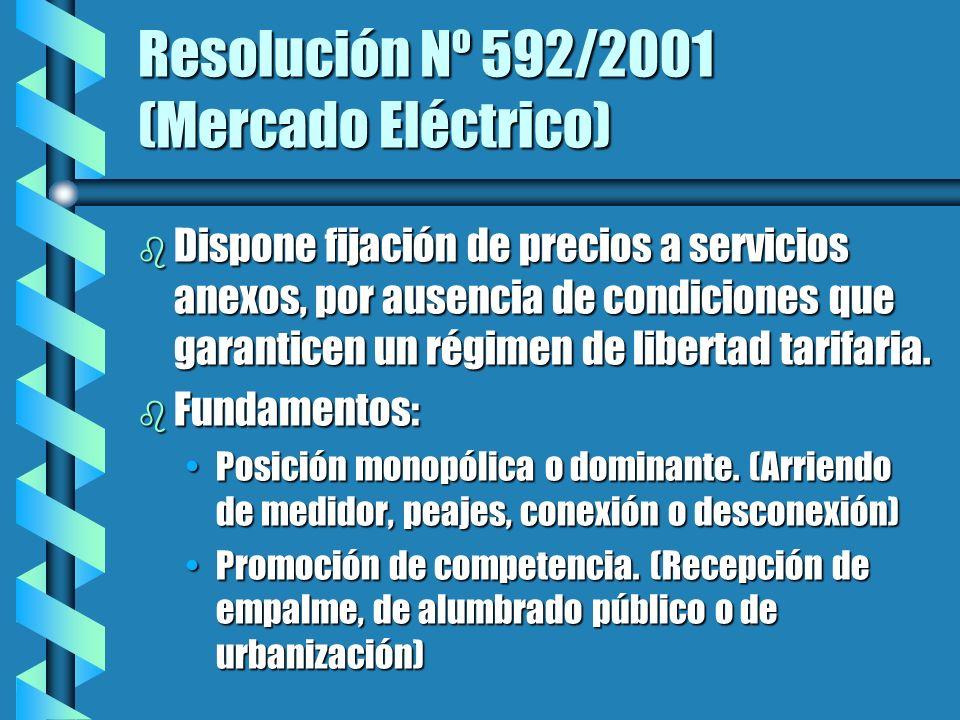 Resolución Nº 592/2001 (Mercado Eléctrico) b Dispone fijación de precios a servicios anexos, por ausencia de condiciones que garanticen un régimen de libertad tarifaria.