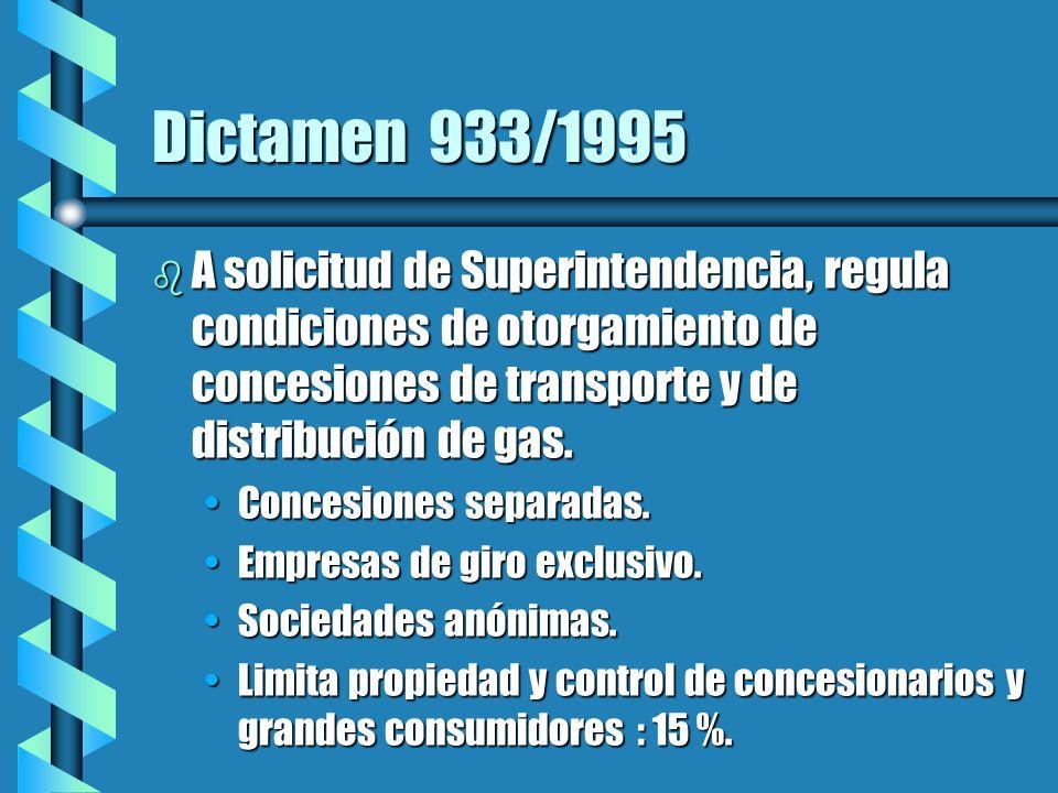 Dictamen 933/1995 b A solicitud de Superintendencia, regula condiciones de otorgamiento de concesiones de transporte y de distribución de gas.