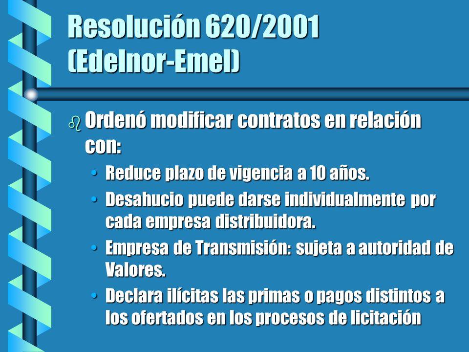 Resolución 620/2001 (Edelnor-Emel) b Ordenó modificar contratos en relación con: Reduce plazo de vigencia a 10 años.Reduce plazo de vigencia a 10 años.