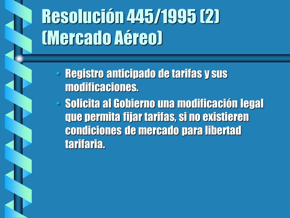 Resolución 445/1995 (2) (Mercado Aéreo) Registro anticipado de tarifas y sus modificaciones.Registro anticipado de tarifas y sus modificaciones.