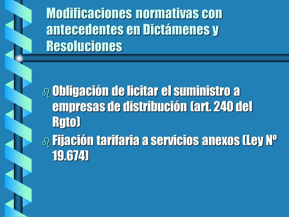Modificaciones normativas con antecedentes en Dictámenes y Resoluciones b Obligación de licitar el suministro a empresas de distribución (art.