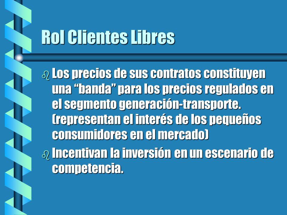 Rol Clientes Libres b Los precios de sus contratos constituyen una banda para los precios regulados en el segmento generación-transporte.