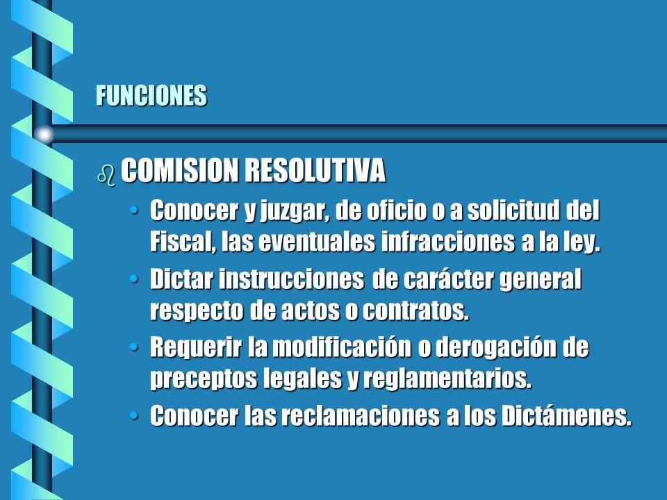 FUNCIONES b COMISION RESOLUTIVA Conocer y juzgar, de oficio o a solicitud del Fiscal, las eventuales infracciones a la ley.Conocer y juzgar, de oficio o a solicitud del Fiscal, las eventuales infracciones a la ley.