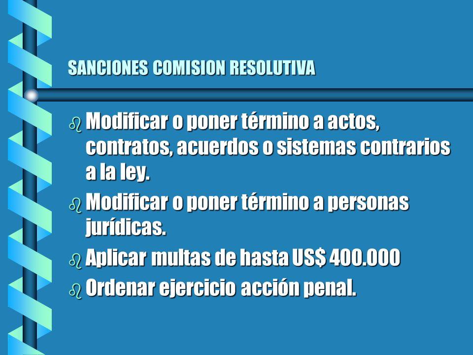 SANCIONES COMISION RESOLUTIVA b Modificar o poner término a actos, contratos, acuerdos o sistemas contrarios a la ley.